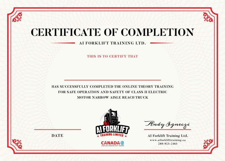 Online-Reach-Truck-Certificate-official